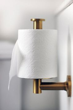 Spotted in a bathroom from the Hunted Interior, the Kohler Purist toilet paper holder Bathroom Accessories, Home Accessories, Brass Toilet Paper Holder, Toilet Paper Holder Vertical, Toilet Paper Stand, Toilet Paper Dispenser, Toilet Roll Holder, Black White Bathrooms, Bathroom Black