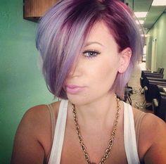 Short bob haircut and nice lavender hair color. Short bob haircut and nice lavender hair color. Love Hair, Gorgeous Hair, Amazing Hair, Short Hair Cuts, Short Hair Styles, Lavender Hair Colors, Short Lavender Hair, Short Purple Hair, Blue Hair