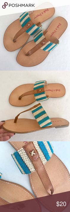 NEW Pink & Pepper striped woven raffia sandals I love stripes! Woven turquoise, cream, and taupe textile uppers--looks and feels like raffia straw. Slide with thong--beautifully on trend. Burnished tan leather footbed, flocked rubbery outsole, teeny heel. New, never worn and in original box. Pink & Pepper Shoes Sandals