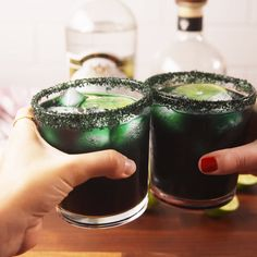 Black Magic Margaritas Have Us Under A Spell Halloween Party Drinks, Holiday Drinks, Halloween Party Decor, Halloween Dinner, Halloween Treats, Haloween Drinks, Halloween Alcoholic Drinks, Halloween Jello Shots, Halloween Finger Foods