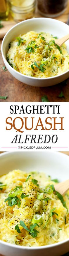 Easy and Healthy Spaghetti Squash Alfredo Recipe - Only 20 minutes to make! http://www.pickledplum.com/spaghetti-squash-alfredo-recipe/
