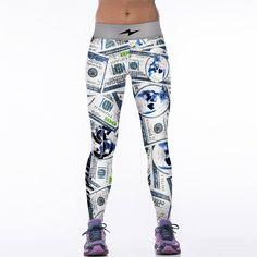 NEW 88043 Girl Women Vintage The Flash Dollar 100 $ 3D Prints High Waist Running Jogging Fitness GYM Sport Leggings Yoga Pants #Affiliate