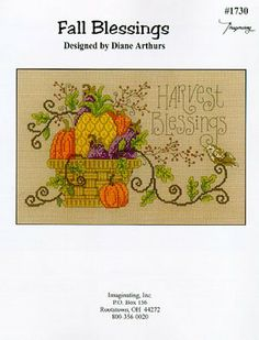 The beautiful Thanksgiving piece is stitched on 14 Smoketone Aida or fabric of choice. The pattern uses DMC threads.