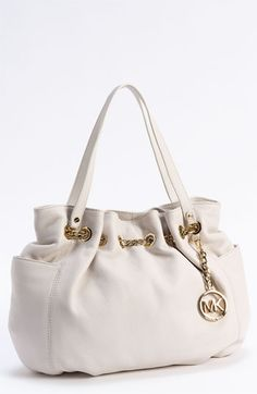 Slouchy leather tote with gold chain in bright white in just the right size