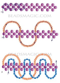 Free pattern for necklace Storm - 2.---  U need:  seed beads 6/0 or round beads 4 mm  seed beads 10/0 – 11/0  two cut beads