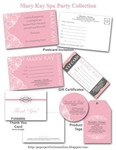 Paper Perfection: Mary Kay Spa Party Printables