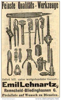 Original-Werbung/Anzeige 1910 - QUALITÄTS - WERKZEUGE / LEHNARTZ - REMSCHEID - BLIEDINGHAUSEN - ca. 45 x 75 mm