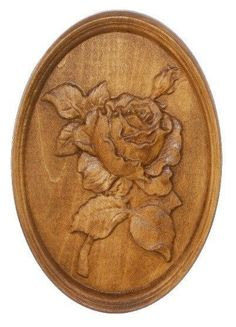 ROSE Woodcarving wooden relief picture art panel decoration wall pano in Art, Art from Dealers & Resellers, Sculpture & Carvings | eBay