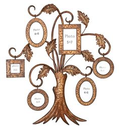 Metal Family Tree Frame Photo Display Wall Hanging Copper Color Art Decor Plaque