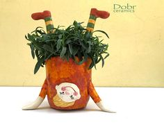Ceramic Planter Ceramic Pot Funny Girl Orange Yellow Green - A funny ceramic girl pot is ideal for indoor and outdoor planters The pot was thrown on the potter - Ceramic Planters, Ceramic Vase, Ceramic Pottery, Planter Pots, Outdoor Planters, Ceramic Shop, Clay Projects, Clay Crafts, The Potter's Wheel