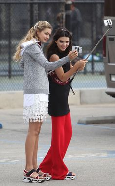 Gigi Hadid & Kendall Jenner from The Big Picture: Today's Hot Pics  The gorgeous models test out selfie sticks during a photo shoot.