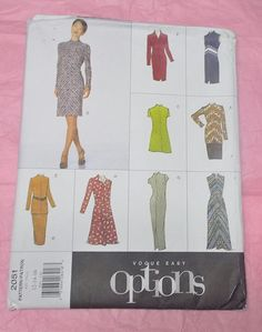 Vogue 2051 Easy Options sewing pattern Misses 12 by NoodlesNotions, $10.00