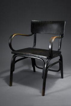 Ferdinand Kramer; #B-403 Lacquered Beech Armchair for Thonet, 1927.