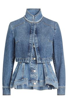 Modern women will love Alexander McQueen's signature sharp tailoring with an unconventional twist. This blue denim peplum jacket from Alexander McQueen features a funnel neck, a front zip fastening and three-quarter length sleeves with button cuffs. Alexander Mcqueen, Embroidered Denim Jacket, Sarah Burton, Denim Ideas, Peplum Jacket, Jeans Denim, Tailored Jacket, Mode Outfits, Distressed Denim