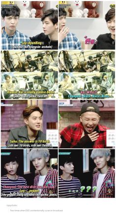 Few times when EXO unintentionally curse on broadcast. Bonus, Rapmon choking on air because of Suho XD