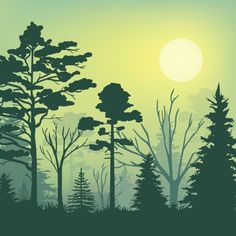 Shop Forest evening illustration poster created by fiersee. Squirrel Silhouette, Forest Silhouette, Silhouette Vector, Forest Mural, Forest Illustration, Art Plastique, Vector Art, Vector Trees, Paper Art