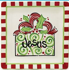 "Burton Burton Jesus ""He Gives All"" Platter"" Christmas New 