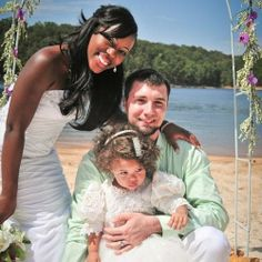 A beautiful interracial couple & their precious daughter on their wedding day #love #wmbw #bwwm