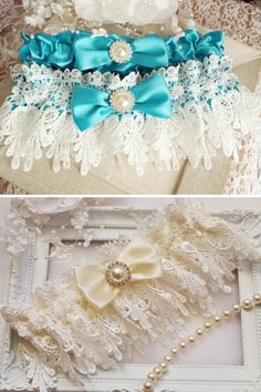 f651f7a4a2f Something Blue Garter Set Turquoise Wedding Garter Ivory Lace Garter Set  Blue Garter Vintage Style Wedding Accessories Keepsake Garter