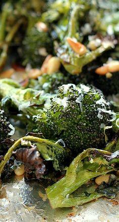 Parmesan Roasted Broccoli with Fresh Garlic, Lemon, and Pine Nuts