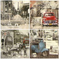 4 x Single Luxury Paper Napkins for Decoupage Craft Vintage Cities uk.picclick.com