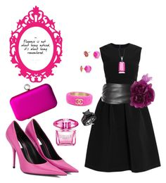 Pink and black outfit by Diva of Cake  featuring polyvore fashion style Preen Balenciaga SJP Chanel Kate Spade White House Black Market Versace clothing