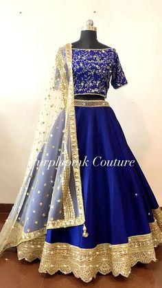 Lehenga Choli Latest, Lehenga Choli Wedding, Indian Bridal Lehenga, Designer Party Wear Dresses, Indian Designer Outfits, Indian Outfits, Royal Blue Lehenga, Raw Silk Lehenga, Indian Wedding Gowns