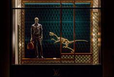 Louis Vuitton Dinosaur Windows at Champs-élysées store window, Paris France