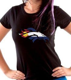 Women's Denver Broncos with Colorado Flag Colors Team Sport Football Fan T-shirt Tshirts Tees