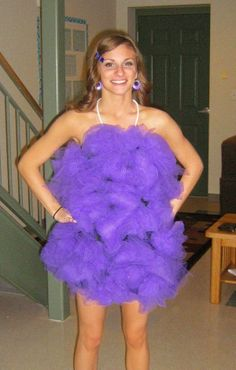 Loofa Halloween Custom--Purple with string around neck (very clean and clever).
