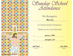 A printable certificate recognizing vacation bible school this printable certificate showing jesus on the cross is to be presented in honor of attendance yadclub Image collections