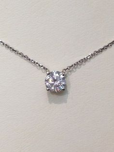 Diamond Solitaire Necklace  on Etsy, $2,500.00