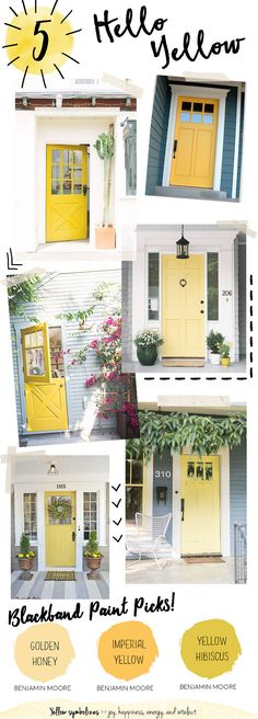 Yellow Door Paint Color. Yellow Front Door Paint Color. Benjamin Moore Golden Honey. Benjamin Moore Imperial Yellow. Benjamin Moore Yellow Hibiscus. Yellow is a cheerful way to welcome guests into your home. Representing the sun, a bright shade of yellow can bring happiness, warmth and energy to your front door. This color is best suited for exteriors with neutral tones like whites, grays, and shades of brown. #BenjaminMooreGoldenHoney #BenjaminMooreImperialYellow…