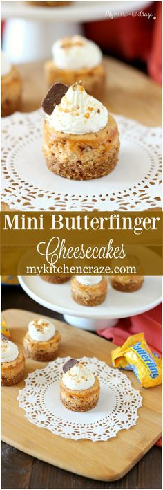 Mini Butterfinger Cheesecakes ~ mykitchencraze.com ~ Delicious cheesecakes swirled with butterfingers candies and topped with whipped cream! Yum! #ReinventSweet #ad