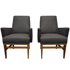 Pair of 1950s armchairs cloth and wood