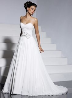 Chic A-line sleeveless chiffon wedding dress