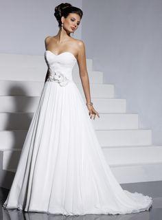 A-line sleeveless chiffon wedding dress