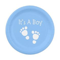 White baby foot - It's a boy  baby-shower Paper Plate - blue gifts style giftidea diy cyo