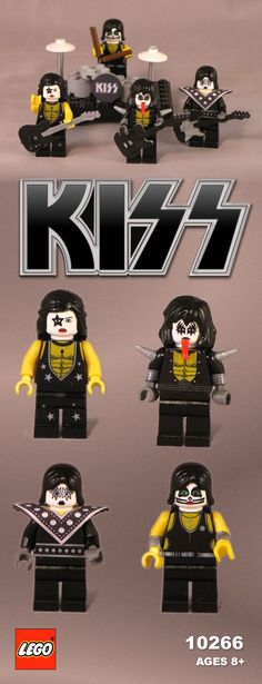 This is the Rock Legends KISS in Legos made by Jonathan Gilbert, including Gene Simmons, Paul Stanley, Ace Frehley, and Peter Criss. Paul Stanley, Rock N Roll, Gene Simmons Kiss, Kiss Rock Bands, Kiss Art, Lego People, Hot Band, Nerd, Lego Worlds