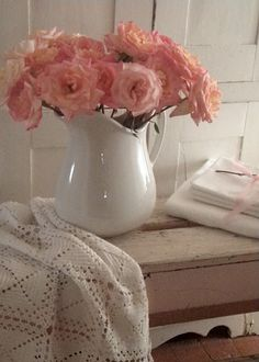 roses in white ironstone pitcher from cabin & cottage blog