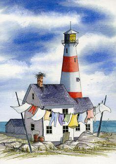 lighthouse painting - Recherche (cute idea for the laundry room) Watercolor Landscape, Watercolor Paintings, Painting Clouds, Acrylic Paintings, Body Painting, Pen And Wash, Lighthouse Painting, Urban Sketching, Naive Art