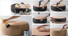 How to make stool with used automobile tires step by step DIY tutorial instructions / How To Instructions on imgfave Garden Furniture, Diy Furniture, Recycling Furniture, Tire Steps, Tire Table, Tire Ottoman, Ottoman Table, Diy Stool, Diy Chair
