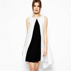 Women Asymetric Patchwork Chiffon Party Dress Loose Elegant Sexy Casual Dress Black And White Color Sleeveless Fake Dress Online with $20.74/Piece on Smartmart's Store | DHgate.com