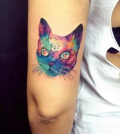 Seven Awesome Things You Can Learn From Watercolor Cat Flower Tattoo Cat Tattoo Designs, Small Tattoo Designs, Tattoo Designs For Women, Tattoo Chat, Ink Tattoo, Halo Tattoo, Small Tattoos Men, Cat And Dog Tattoo, Cute Cat Tattoo