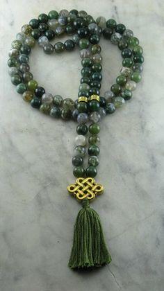 Ayurvedic Stability Mala 108 Moss Agate Mala Beads Buddhist Prayer Beads Vata