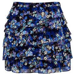 Forever New Zoe printed ruffle skirt ($22) ❤ liked on Polyvore featuring skirts, bottoms, saias, faldas, ditsy floral print, ruffle skirt, layered ruffle skirt, layered skirt, blue ruffle skirt and print skirt