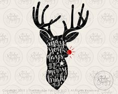 Reindeer SVG Cut File Rudolph SVG Cutting File Merry and by TheSmudgeFactoryLLC