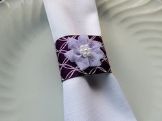 PLUM NAPKIN RINGS Plum and White Lattice by ModernClassicbyCarol