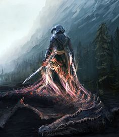 One of the coolest pieces of art I've ever seen for The Elder Scrolls V: Skyrim -- Dragon Slayer by mrainbowj