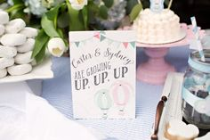 Up, Up and Away Hot Air Balloon party signs by Charming Touch Parties.  Pack of 2, 5x7 signs, physical product.  Pink, blue, mint and coral by CharmingTouchParties on Etsy